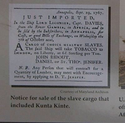 Notice for sale of the slave cargo that included Kunta Kinte image. Click for full size.