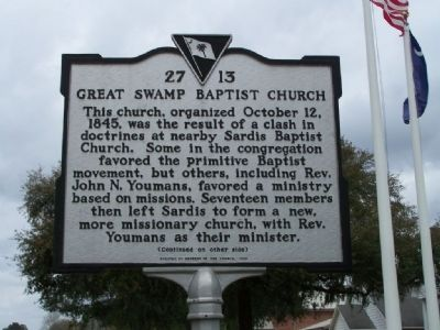 Great Swamp Baptist Church Marker image. Click for full size.