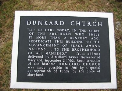 Dunker Church Tablet next to the Monument image. Click for full size.