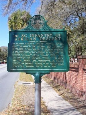 1st SC Infantry Of African Descent Marker image. Click for full size.