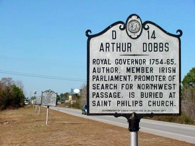 Previous Arthur Dobbs Marker at its old location image. Click for full size.