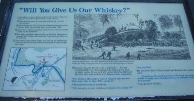 """Will You Give Us Our Whiskey?"" Marker image. Click for full size."
