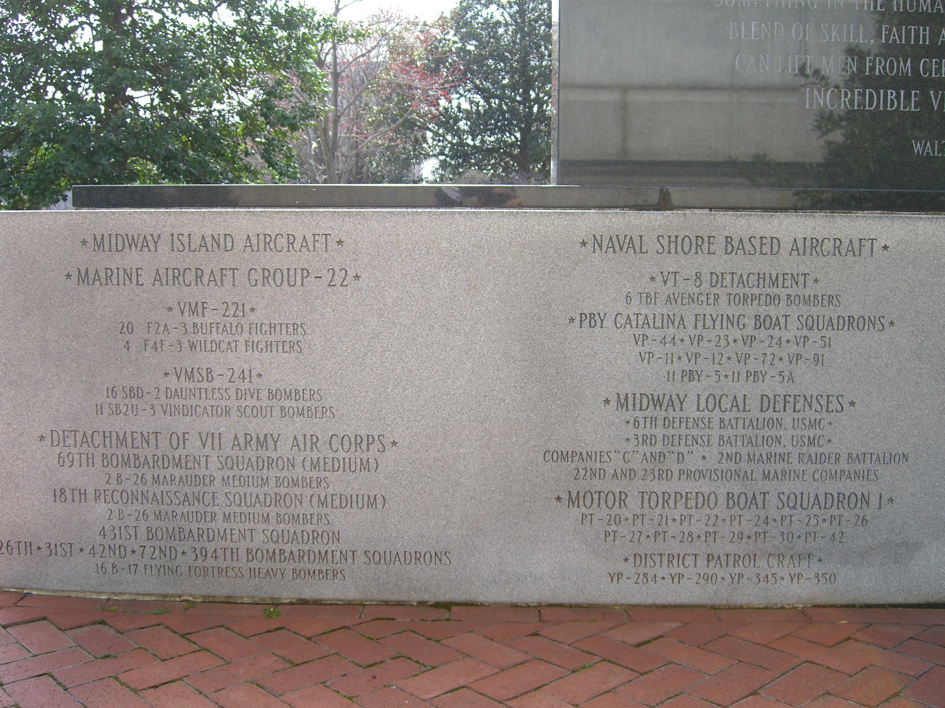 Monument to the Battle of Midway Marker </b><i>[Back, lower left]