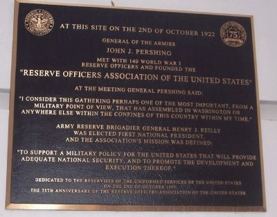 Reserve Officers Association Marker image. Click for full size.