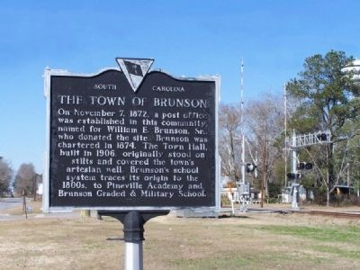 The Town Of Brunson Marker image. Click for full size.
