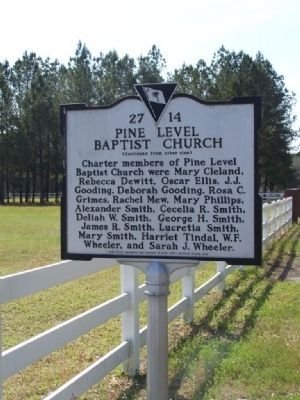 Pine Level Baptist Church Marker, Reverse side image. Click for full size.