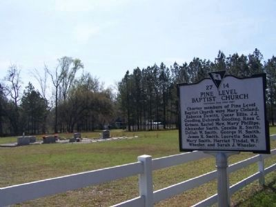 Pine Level Baptist Church site, now a small Cemetery location image. Click for full size.
