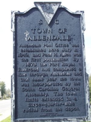 Town of Allendale Marker image. Click for full size.