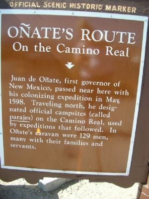 Onate's Route On the Camino Real Marker image. Click for full size.