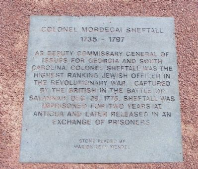 Colonel Mordecai Sheftall Marker image. Click for full size.