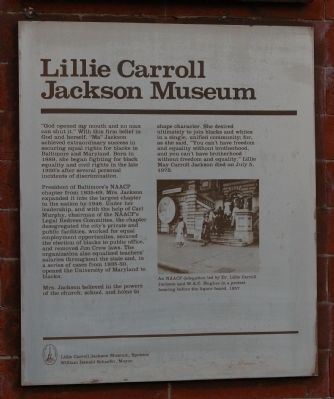 Lillie Carroll Jackson Museum Marker image. Click for full size.