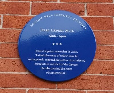 Jesse Lazear, M.D. Marker image. Click for full size.