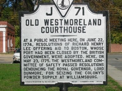 Old Westmoreland Courthouse image. Click for full size.
