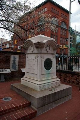 """Poe's Baltimore"" marker is to the right, behind Poe's grave image. Click for full size."