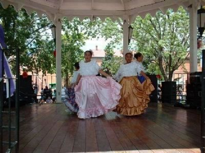 Dancers celebrate 197th Birthday of Albuquerque...site of onetime burial ground image. Click for full size.