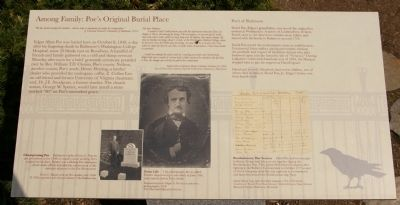 Among Family: Poe's Original Burial Place Marker image. Click for full size.