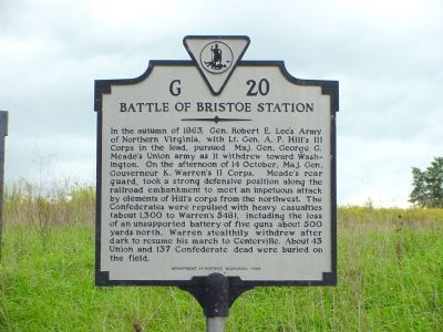 Battle of Bristoe Station Marker image. Click for full size.