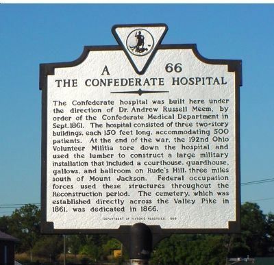 The Confederate Hospital Marker image. Click for full size.