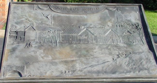Confederate Hospital Bas-Relief Brass Tablet image. Click for full size.