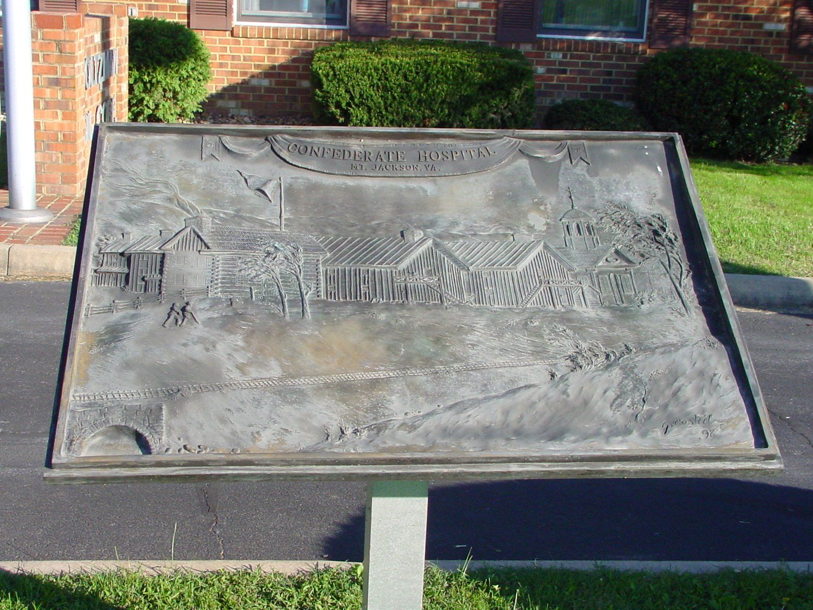 Confederate Hospital Bas-Relief Brass Tablet