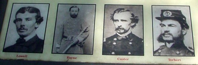 Col. Lowell, Col. Payne, Gen. Custer, Gen Torbert image. Click for full size.