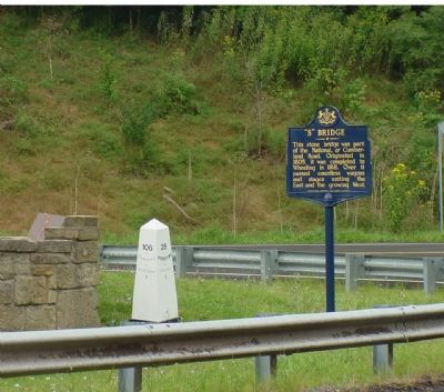 This Marker, Next to National Road Milemarker image. Click for full size.