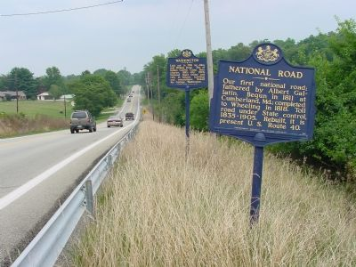 National Road and Washington Markers on U.S. 40 image. Click for full size.