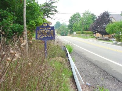 Wolff's Fort Marker on U.S. 40 image. Click for full size.