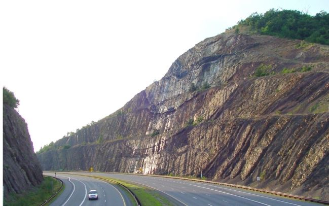 Interstate 68 Cut Through Sideling Hill Mountain image. Click for full size.