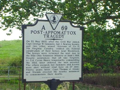 Post-Appomattox Tragedy Marker image. Click for full size.