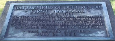 Battlefield of Bull Run or First Manassas Marker image. Click for full size.