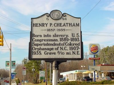 Henry P. Cheatham Marker image. Click for full size.