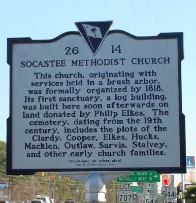 Socastee Methodist Church Marker </b>(front) image. Click for full size.