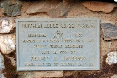 Quitman Lodge No. 88, F. & A. M. Plaque image. Click for full size.