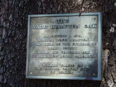 The Wade Hampton Oak Marker image. Click for full size.