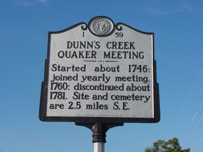 Dunn's Creek Quaker Meeting Marker image. Click for full size.