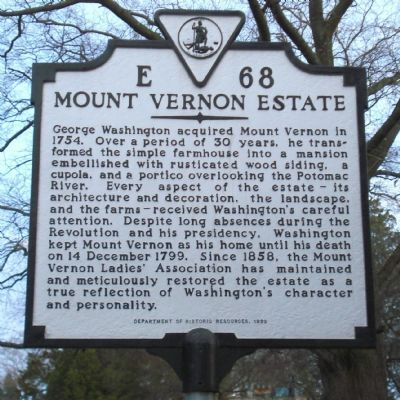 Mount Vernon Estate Marker image. Click for full size.