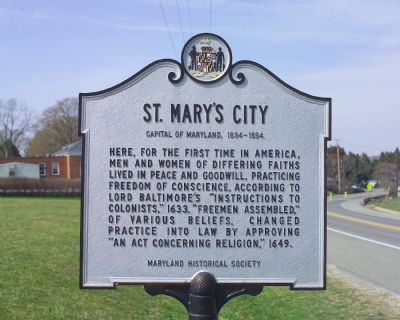St. Mary's City Marker image. Click for full size.
