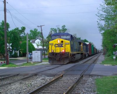 CSX Freight Train Crossing Queensbury Road image. Click for full size.