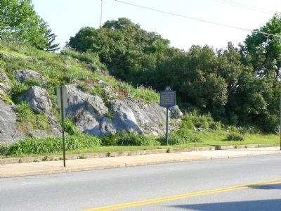 Marker in Front of the Rock Outcropping image. Click for full size.