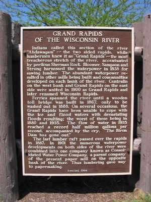 Grand Rapids of the Wisconsin River Marker image. Click for full size.