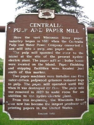 Centralia Pulp and Paper Mill Marker image. Click for full size.
