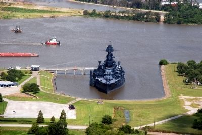 Battleship Texas seen from the observation deck image. Click for full size.