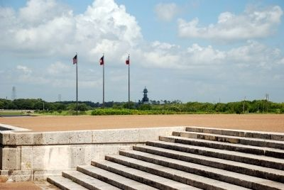 Texas Limestone steps leading up to the monument plaza. Battleship Texas is in background. image. Click for full size.