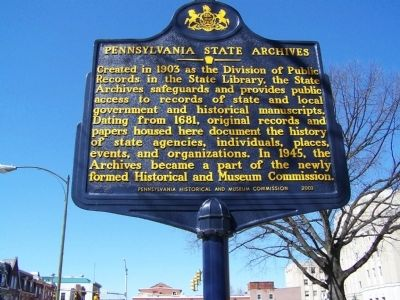 Pennsylvania State Archives Marker image. Click for full size.