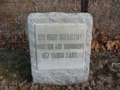 "A ""Pointer"" Marker for the 11th Ohio Monument Stands on Branch Avenue image. Click for full size."