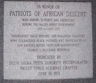 Patriots of African Descent, inscription, back side of monument image. Click for full size.