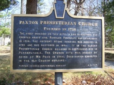 Paxton Presbyterian Church Marker image. Click for full size.