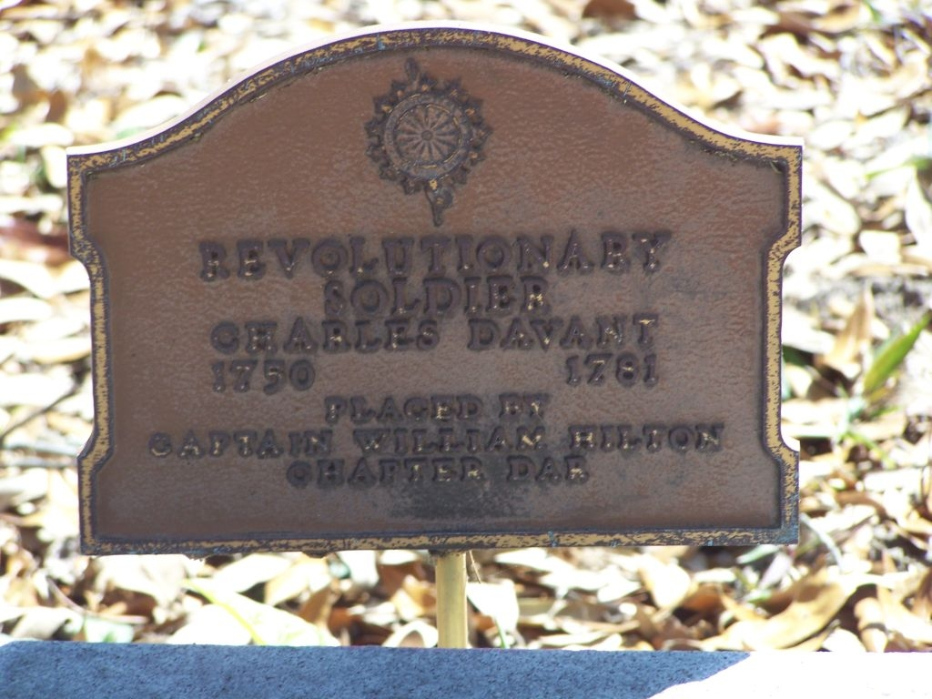 Nearby Cemetery Marker for Charles Davant about 100 feet away