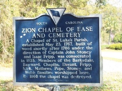 Zion Chapel of Ease and Cemetery Marker image. Click for full size.